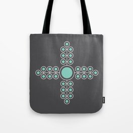 Minimalist Flowers Cross Pattern (Lucite Green, Charcoal Black) Tote Bag