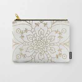 Chic elegant white faux gold spiritual floral mandala Carry-All Pouch