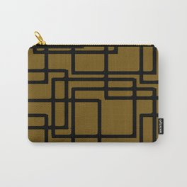 Retro Modern Black Rectangles On Meerkat Brown Carry-All Pouch