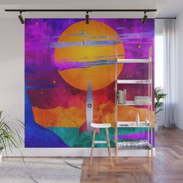 Colorful Outer Space Spaceship Wall Mural