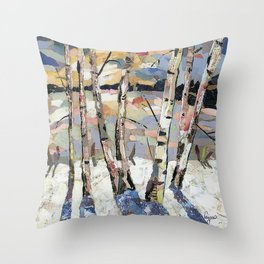 Birches in witnter Throw Pillow