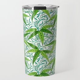 William Morris Bamboo Print, Green and White Travel Mug
