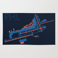 60s Area & Throw Rugs featuring Philadelphia (PHL) - 60s by Kyle Rodgers