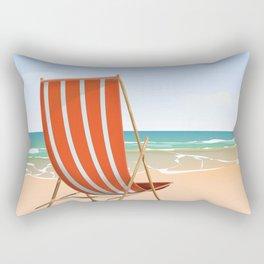 Duckpool Beach Cornwall travel poster Rectangular Pillow