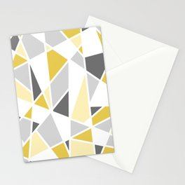 Geometric Pattern in yellow and gray Stationery Cards