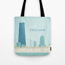 Vintage Chicago Travel Poster Tote Bag