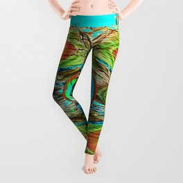 TURQUOISE  BLUE-GREEN PEACOCK EYE  FEATHERS Leggings