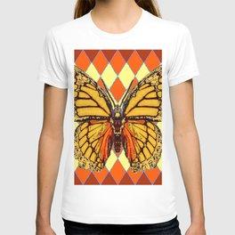 MONARCHS BUTTERFLY  &  ORANGE-BROWN HARLEQUIN PATTERN T-shirt