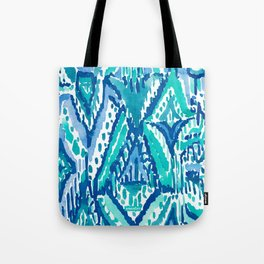 AQUA FRINGE TRIBAL Ikat Watercolor Tote Bag