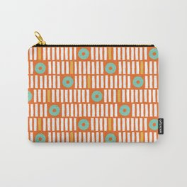 Geometrical abstract orange white turquoise stripes polka dots Carry-All Pouch