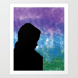 Watercolor Silhouette of a Sad Young Self Art Print