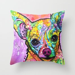 Colorful Chiwawa Dog - Colorful Chihuahua Dog Drawing - Dog Lover Gift Throw Pillow