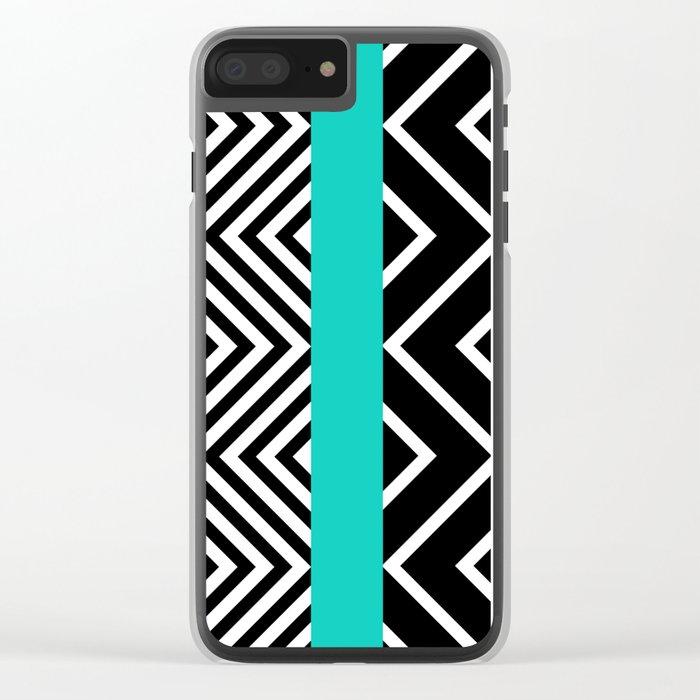 geometric in blue Clear iPhone Case