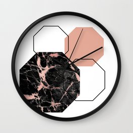 Geometric - Hexagon, Black Marble Rose Gold Wall Clock