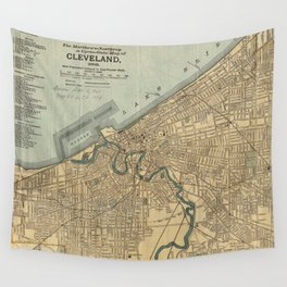 Vintage Map of Cleveland OH (1894) Wall Tapestry