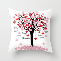 blossom tree of love Throw Pillow