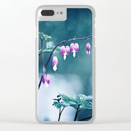 Bleeding Hearts Flower Photography, Navy Pink Purple Floral Nature Art Clear iPhone Case