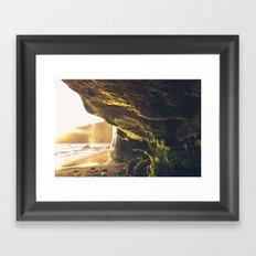 sunset moss cave Framed Art Print