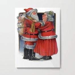 Vintage Mr and Mrs Claus  Metal Print