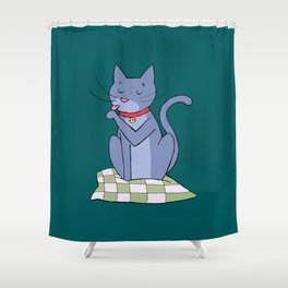 cat hygiene Shower Curtain