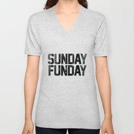 Sunday Funday Dirty Vintage Varsity Typography Print Unisex V-Neck