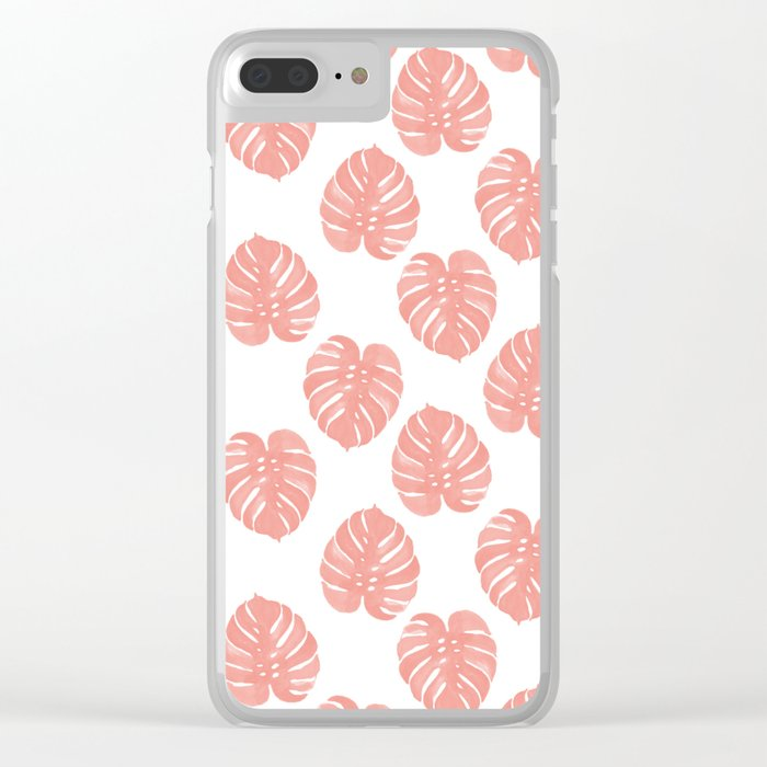 Monstera house plant minimal watercolor painting trendy gifts for anyone leaves tropical beach Clear iPhone Case