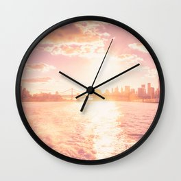 New York City Skyline Sunset Wall Clock