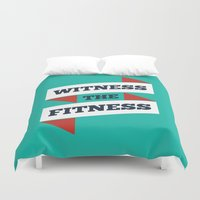 fitness Duvet Covers featuring Lab No. 4 - Witness The Fitness Gym Motivational Quotes Poster by Lab No. 4