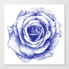 Ballpoint Blue Rose Canvas Print