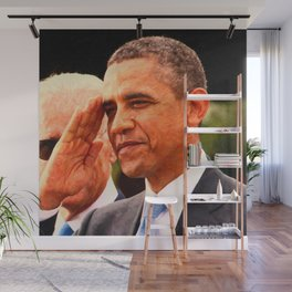 Abstract Portrait of President Barack Obama salutes Wall Mural