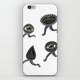 running surreal eyes mouth and nose creatures iPhone Skin
