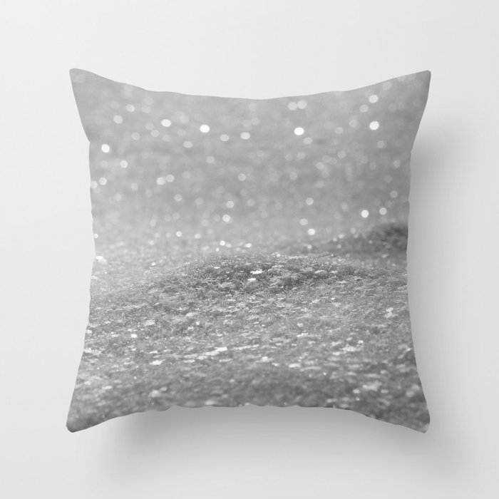 Glitter Silver Throw Pillow By Alicegosling Society6