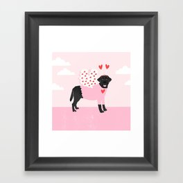 Black Labrador Retriever dog breed valentines day love bug gifts black labs Framed Art Print