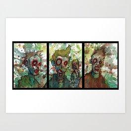 zombie triptych Art Print