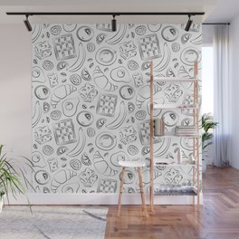 Breakfast black and white pattern Wall Mural