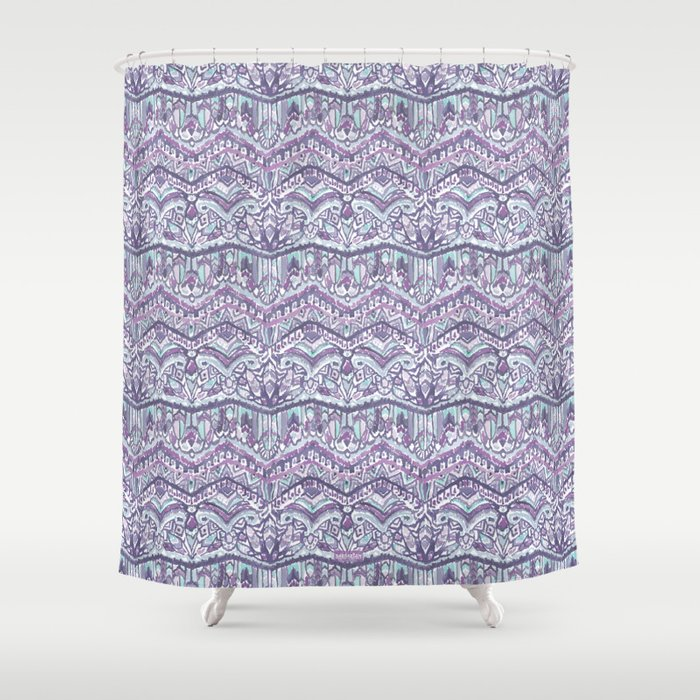 BARBARIAN TRIBE Mystic Winter Feather Tribal Shower Curtain