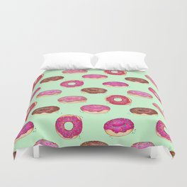 Delicious Donuts - on pale mint green  Duvet Cover