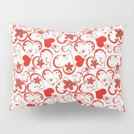 Abstract pattern with red hearts and flowers . Pillow Sham