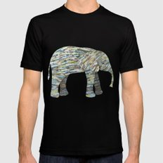 Elephant Paper Collage in Gray, Aqua and Seafoam Mens Fitted Tee MEDIUM Black