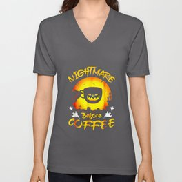 Funny Nightmare Before Coffee Halloween Unisex V-Neck