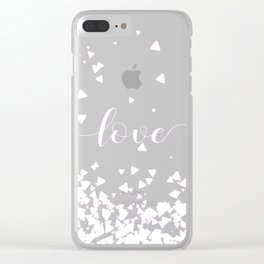 Delicate Love Rose Pink Glitter Design Clear iPhone Case