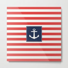 Anchor on red and white stripes Metal Print