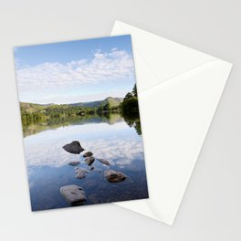 Rocks, reflections and view to Helm Crag. Grasmere, Lake Disctrict, Cumbria, UK Stationery Cards