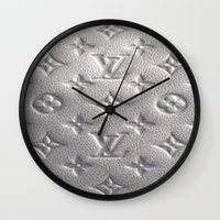 lv Wall Clocks featuring Silver LV  by Luxe Glam Decor