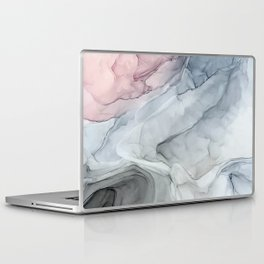 Pastel Blush, Grey and Blue Ink Clouds Painting Laptop & iPad Skin