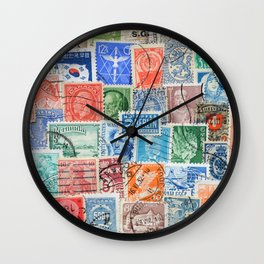 Collection of stamps mail of the different countries. Vintage illustration pattern Wall Clock