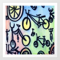 bikes Art Prints featuring Bikes by JustinPotts