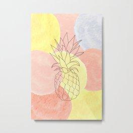 Pineapple Watercolor Spots Metal Print