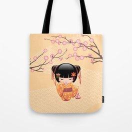 Japanese Ume Kokeshi Doll Tote Bag
