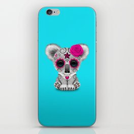 Pink and Blue Day of the Dead Sugar Skull Baby Koala Bear iPhone Skin